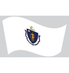 Flag of Massachusetts waving on gray background vector image vector image
