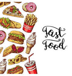 hand drawn colored fast food elements vector image vector image