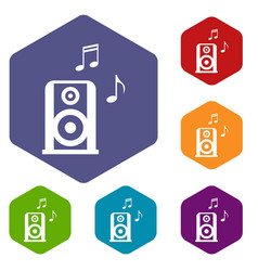 portable music speacker icons set vector image