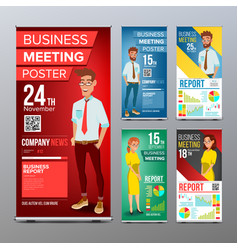 roll up display set vertical poster vector image