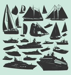 silhouettes of boats vector image vector image