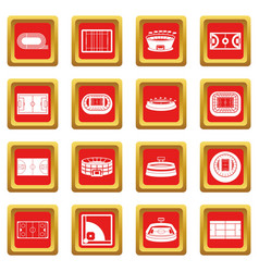 sport stadium icons set red vector image vector image