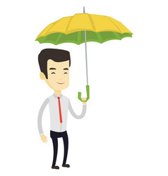 Business man insurance agent with umbrella vector