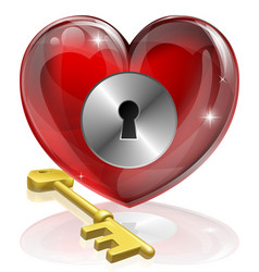 heart lock and key vector image
