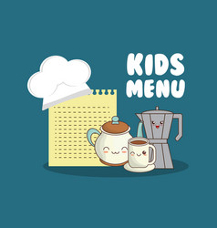 kids menu set kitchen utensils vector image