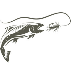 salmon fish and lure design template vector image