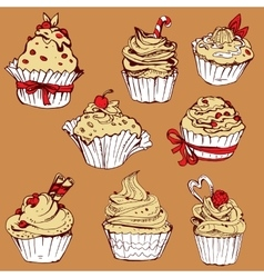 Set of hand drawn decorated sweet cupcakes - vector image vector image