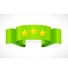 three stars on green band vector image vector image