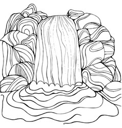 waterfall coloring page for children and adults vector image vector image
