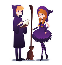 wizard boy with book and magic stick witch girl vector image vector image