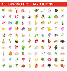100 spring holidays cons set isometric 3d style vector