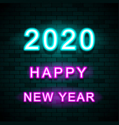2020 new year design template on brick wall vector image