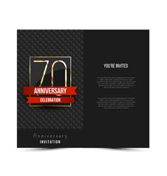 70th anniversary invitation card template vector