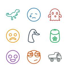 9 cartoon icons vector