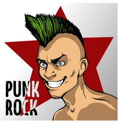 Album s cover mad man with a green mohawk punk vector
