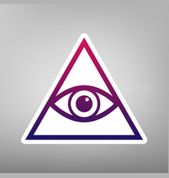 All seeing eye pyramid symbol freemason and vector