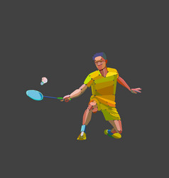 Badminton player abstract silhouette vector