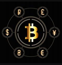 bitcoin icon in center a circle other vector image