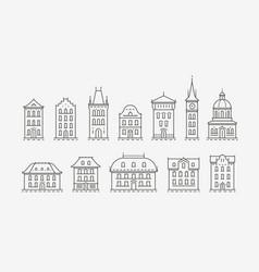 buildings icon set symbol architecture city vector image
