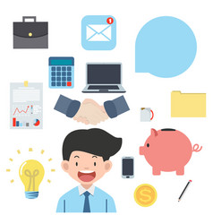 business objects flat icons collection vector image
