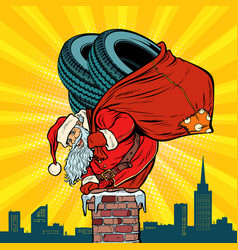 Car winter tires santa claus with gifts climbs vector