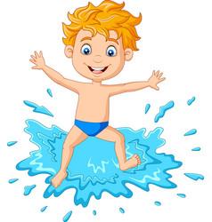cartoon boy playing on water vector image