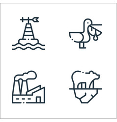 Climate change line icons linear set quality line vector