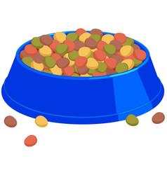 Colorful cartoon pet full food bowl vector