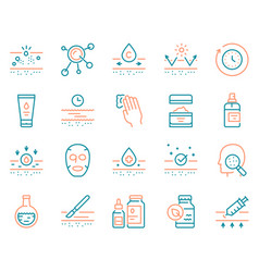Cosmetology and skin care color linear icon set vector