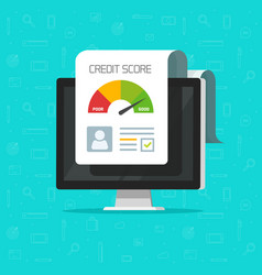 credit score online report document on computer vector image