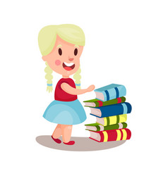 Cute blonde girl standing next to a pile of books vector