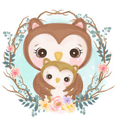 Cute owl motherhood vector