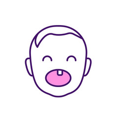 deciduous teeth rgb color icon vector image