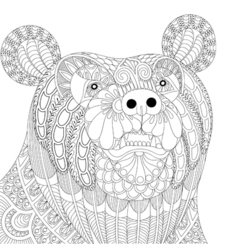 entangle bear head for adult anti stress coloring vector image