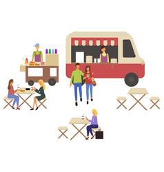 Fastfood van car and cafe takeaway food people vector