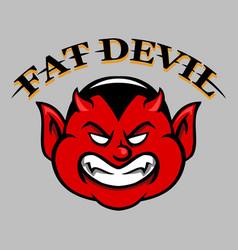 fat devil face vector image