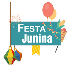 Festa junina lamp balloon flag white background ve vector