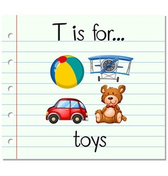 Flashcard letter T is for toys vector