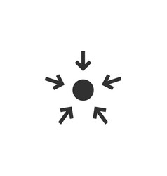 Four arrows pointing to a dot inside a circle vector