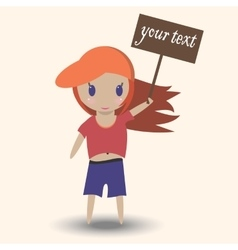 girl holding a sign advertising cartoon cute baby vector image