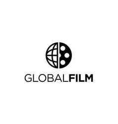 Global film logo design concept vector