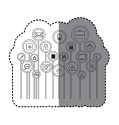 Grayscale sticker with tech icons online vector