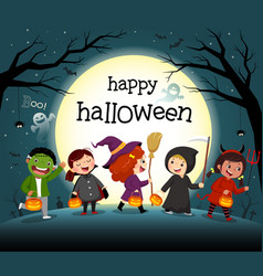 halloween night background with group kids vector image