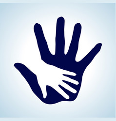 Hand in hand in white and blue symbol of help vector