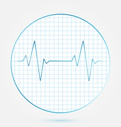 Heart beats cardiogram blue icon vector