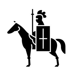 horse knight with flag glyph icon vector image