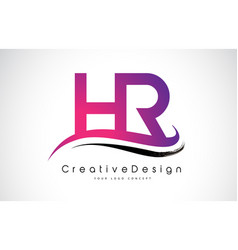 Hr h r letter logo design creative icon modern vector