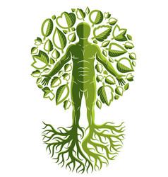 Human athlete made as continuation of tree with vector
