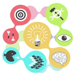 Icon set brain light bulb darts target fish eye vector