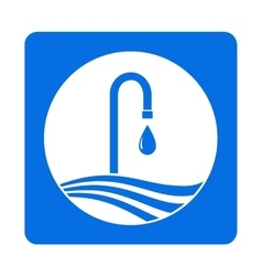 icon with tap and water drop vector image vector image